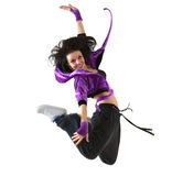 Hip hop dancer. Young hip hop dancer jumping on white background stock images