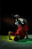 Hip hop dancer. Portrait of hip hop dancer in colorful light royalty free stock photo