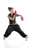 Hip-hop dancer. Isolated on white stock image