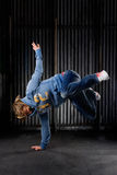 Hip hop dancer. On a street in the night stock image