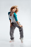 Hip-hop dancer. Teenage girl dancing hip-hop studio series royalty free stock images