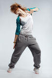Hip-hop dancer. Teenage girl dancing hip-hop studio series royalty free stock photos
