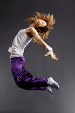 Hip-hop dancer. Teenage girl dancing hip-hop studio series royalty free stock photo