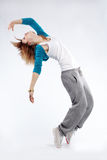 Hip-hop dancer. Teenage girl dancing hip-hop studio series Royalty Free Stock Image