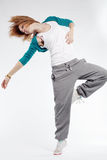 Hip-hop dancer. Teenage girl dancing hip-hop studio series Stock Photos
