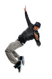 Hip Hop Dancer. African American hip hop dancer performing move isolated over white background royalty free stock photography