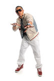 Hip Hop Dancer. African American hip hop dancer isolated over white background stock image