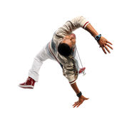 Hip Hop Dancer. African American hip hop dancer performing isolated over white background royalty free stock image