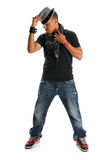 Hip Hop Dancer. African American hip hop dancer standing isolated over white background royalty free stock photography