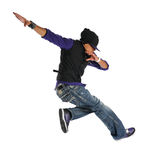 Hip Hop Dancer. African American hip hop dancer jumping isolated over white background stock images