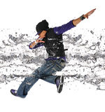 Hip Hop Dancer. African American hip hop dancer jumping isolated over white background royalty free stock images
