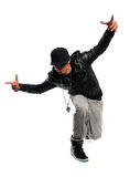Hip Hop Dancer. African American hip hop dancer performing isolated over white background royalty free stock images