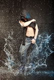 Hip hop dancer. In aqua studio stock photos