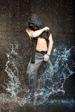 Hip hop dancer. In aqua studio Stock Photos