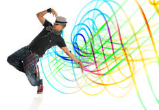 Hip Hop Dancer. Performing with light painting isolated over white background royalty free stock images