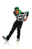 Hip Hop Dancer. Portrait of African American hip hop dancer isolated over white background Stock Images