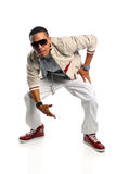 Hip Hop Dancer. African American hip hop dancer over white background stock photography