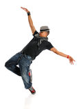 Hip Hop Dancer. African American hip hop dancer performing isolated over white background stock photo