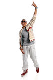 Hip Hop Dancer. Portrait of African American hip hop dancer isolated over white background royalty free stock photo