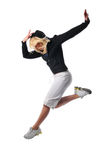 Hip hop dancer. Performing against a white background Stock Photography