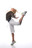 Hip hop dancer. Performing against a white background Stock Photos