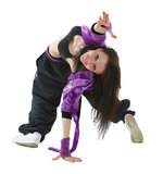 Hip hop dancer. Young hip hop dancer posing isolated on white background Stock Photos