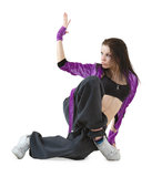 Hip hop dancer. Young hip hop dancer posing isolated on white background Royalty Free Stock Photography