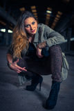 Hip hop dancer in an abandoned industrial hall Stock Images