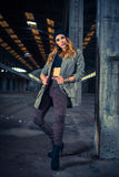 Hip hop dancer in an abandoned industrial hall Royalty Free Stock Photos