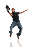 Hip Hop Dancer. African American hip hop dancer isolated over white background Royalty Free Stock Photo