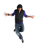 Hip Hop Dancer. African American hip hop dancer performing isolated over white background stock image