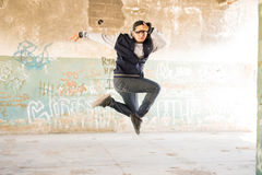 Hip hop dancer in the air Stock Photos