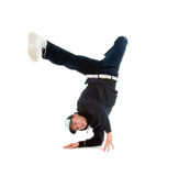 Hip hop  dancer.breakdance. Cool hip hop style dancer.breakdance Shot over white background Royalty Free Stock Images