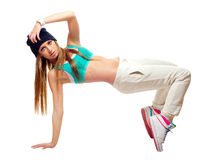 Hip hop dancer dancing isolated on white background. Royalty Free Stock Photo