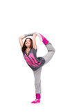 Hip-hop dancer girl. Posing making acrobatic movies royalty free stock photos