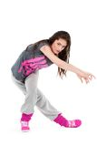 Hip-hop dancer girl. Posing making acrobatic movies stock photography