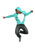 Hip Hop Dancer Jumping. Portrait of African American hip hop dancer jumping isolated over white background Stock Photography