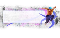 Hip hop dancer jumping. Space for text, collage Stock Photos