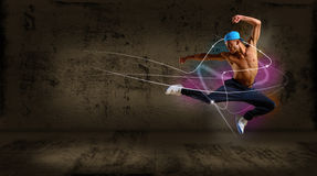 Hip hop dancer jumping. Space for text, collage stock images