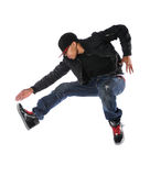 Hip Hop Dancer Jumping. African American hip hop dancer jumping isolated over white Stock Photography