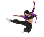 Hip hop dancer jumping. Young hip hop dancer jumping isolated on white background royalty free stock photos