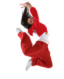 Hip hop dancer jumping. Young hip hop dancer jumping isolated on white background stock photography