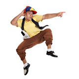 Hip Hop dancer jumping and pointing Royalty Free Stock Photography