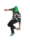 Hip Hop Dancer Jumping. Portrait of African American hip hop dancer jumping isolated over white background Stock Image