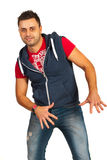 Hip hop dancer man. In cool clothes isolated on white background Stock Photos