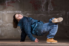 Hip hop dancer  over brick wall Royalty Free Stock Photos