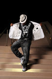 Hip Hop Dancer Performing. African American hip hop dancer performing on stairs Royalty Free Stock Photos
