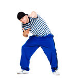 Hip hop dancer performing. Isolated over white background Royalty Free Stock Photos