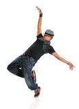 Hip Hop Dancer Performing. African American hip hop dancer performing  over white background Stock Image
