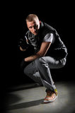 Hip Hop Dancer Performing. Portrait of hip hop dancer performing on the spotlight Royalty Free Stock Image